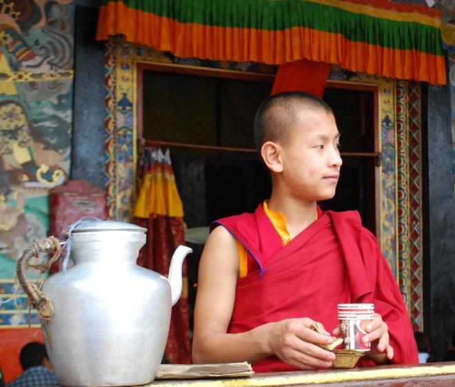 a pensive monk